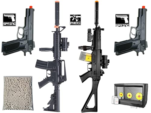 Airsoft Guns Starter Bundle Package 2 Electric Semi/Full Auto Airsoft Rifles 2 Airsoft Spring Pistol with 5000 Bulldog Airsoft BBS 6mm