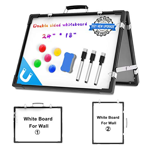 Tableau Blanc Magnétique Double Face - Pliable Mini Tableau Blanc Aimants avec Stylos et Eponge pour Ecole, Maison, Office, 60 x 45 cm