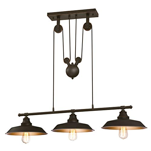 Westinghouse Lighting Three-Light Indoor Island Pulley Pendant Poleas, Bronce Aceitado, Lampara de techo colgante con 3 luces