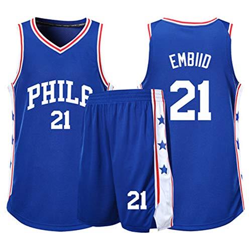 Joel Embid # 21Philadelphia 76ers - Camiseta de baloncesto para hombre, sin mangas, bordado, 2 tallas S-5XL, letras y números cosidos, el mejor regalo para la familia, Neutral, Niños, color azul, tamaño XX-Small