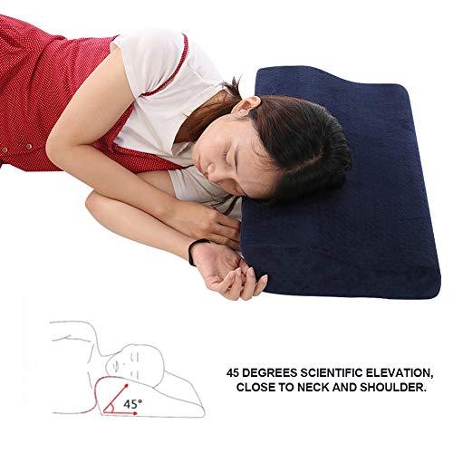 Almohada para dormir de alta calidad, cómoda almohada especial de extensión de pestañas, para la extensión de la columna cervical reduce el dolor de cuello(Navy blue)