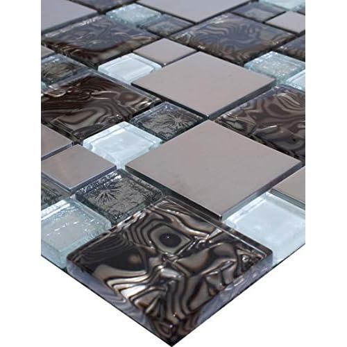 Mosaikfliesen Glas Barock Ornament Weiss