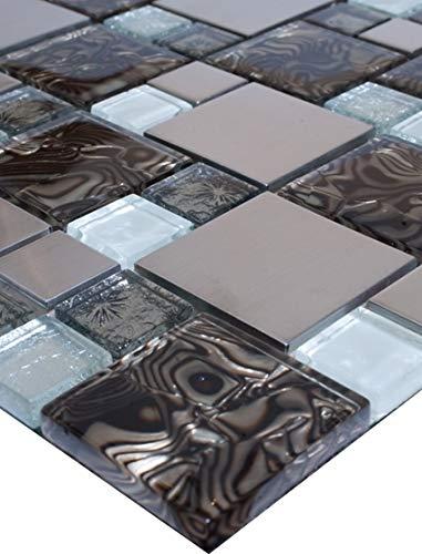 1 Matte Glasmosaik Mosaikfliesen Glas Edelstahl Braun Silber Weiß 30x30 8mm Neu