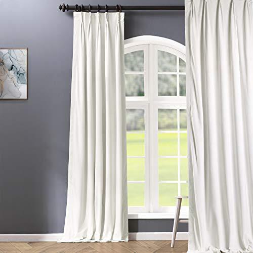HPD Half Price Drapes VPCH-110602-108-FP Signature Pleated Blackout Velvet Curtain (1 Panel), 25 X 108, Porcelain White