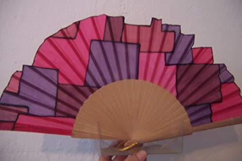 """Abanico""""Cuadrados tricolor"""" seda natural pintado y montado a mano"""