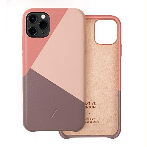 Native Union CLIC Marquetry Hülle für iPhone 11 Pro Max - Italienisches Nappaleder-Cover - Kompatibel mit iPhone 11 Pro Max (Rose)