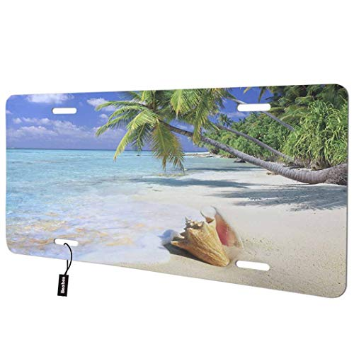 Beabes Beach Scene Front License Plate Cover,Tropical Paradise Ocean with Palm Trees Sea Snail Waves Sand Decorative License Plates for Car,Novelty Auto Car Tag Vanity Plates for Men Women 6x12 Inch