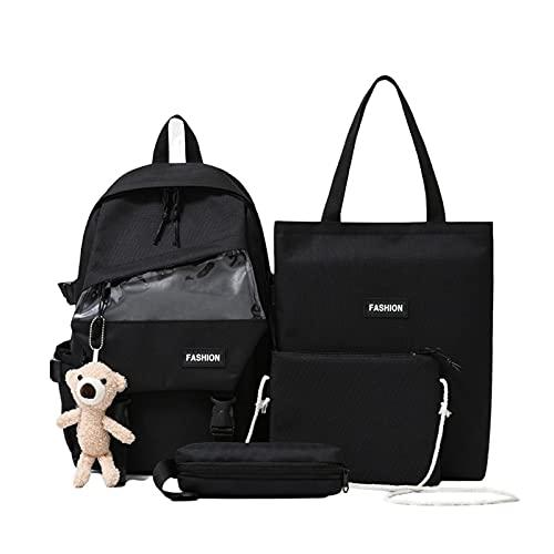 Juego de mochila de oso de 4 piezas, 16 pulgadas, bolsa de hombro cruzada, bolsa de ordenador portátil, estuche de nailon para apertura escolar, Negro, Large