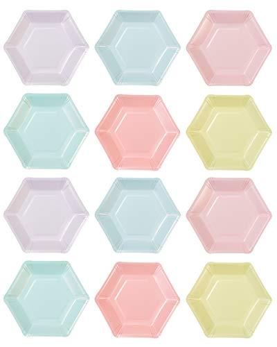 Talking Tables We Heart; Pastelfarbene kleine sechseckige Pappteller für Geburtstagspartys und andere Feste, Bunt, 16,5 x 19 cm (12 pro Pack in 6 Designs)