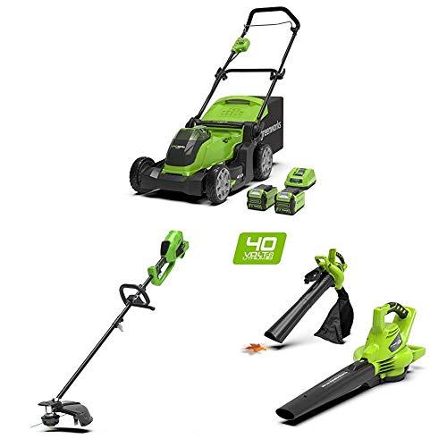 Greenworks Tools 2504707UC Cortacésped Inalámbrico + Recortador Césped con Batería y Sense 2 in 1 + Soplador/Aspirador/Triturador de hojas inalámbrico
