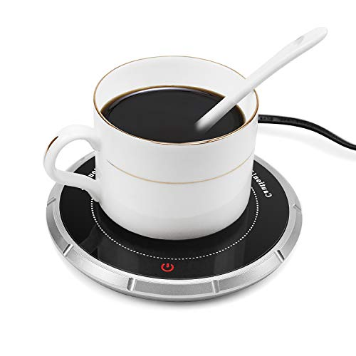Wandefol Coffee Mug Warmer Electric Beverage Warmer Touch Sensitive Button Switch Cup Heater, Milk-Cup Heater Plate, Office Home Use Tea Water Cocoa Soup Milk (UK Plug)