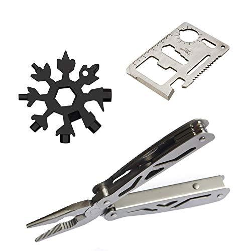 Multi-Function Tool Set, 1PC Multi-Purpose Credit Card/1PC Stainless Steel Snowflake / 1PC Multitool Pliers Knife (3 PC Tool Set)