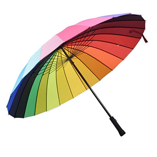 Oqqo Paraguas a Prueba de Viento arcoíris de Color de Costilla de 24 Quilates, Mango Largo de Moda, Paraguas Recto Anti-UV para Sol/Lluvia, sombrilla Grande Manual, Mango Antideslizante