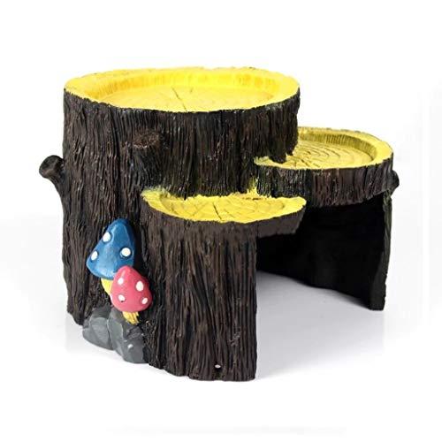 Xu-pet Agujero del árbol escondite, Anfibio Acuario del Reptil Cueva Box-Hábitat Esquina Decoración de Serpiente Tortuga Lagarto escondites de Adornos Accesorios (Size : 16 * 15 * 12.5cm)