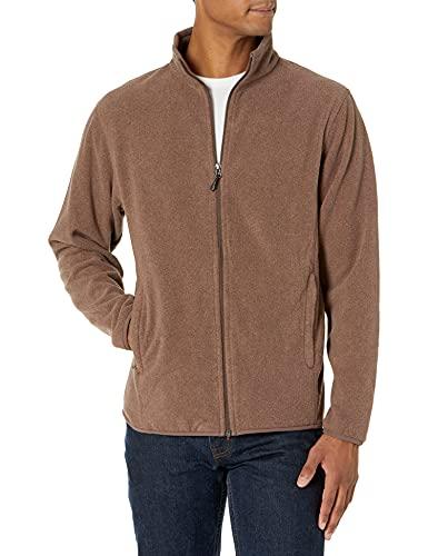Amazon Essentials - Chaqueta de forro polar con cremallera completa para hombre, jaspeado marrón oscuro, US XL (EU XL - XXL)