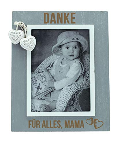 Spruchreif PREMIUM QUALITÄT 100% EMOTIONAL Marco de fotos para mamá, 9 x 13 cm, gris, marco de fotos de madera con grabado, marco de fotos vintage, regalo para mamá