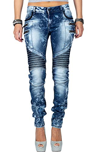 Cipo & Baxx Damen Jeans WD361-bans Blau W27/L32