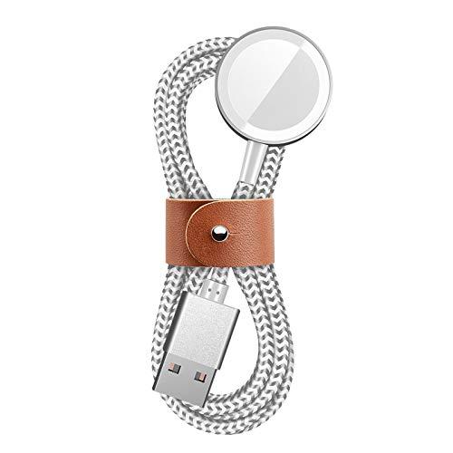 SEQI Uhrenladegerät, Nylon geflochtenes Uhrenladekabel mit hoher Festigkeit und Zähigkeit, magnetisches kabelloses tragbares Ladegerät, kompatibel mit Apple Watch Serie SE /6/5/4/3/2/1 (Silber)