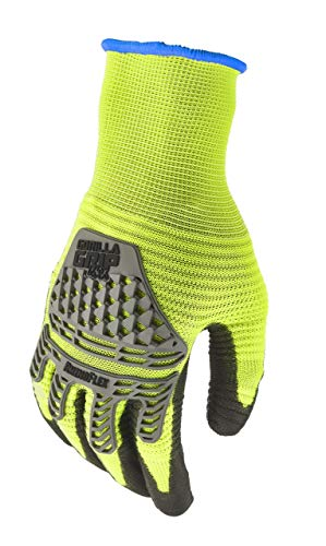 Gorilla Grip Herren Handschuhe, High Vis Yellow and Black, Xtra Large