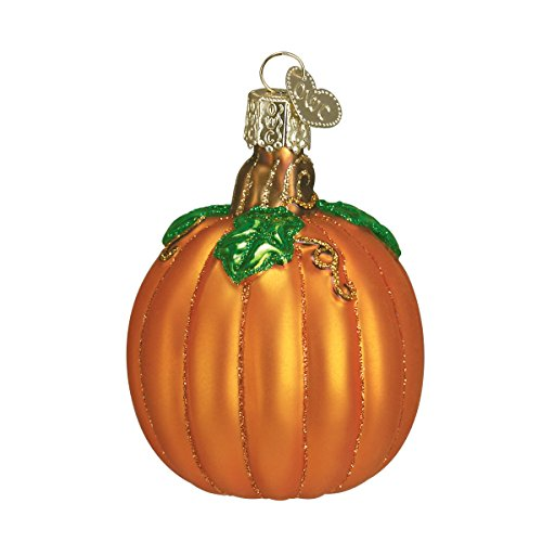 Orange Pumpkin Ornaments with Green Leaf for Tree