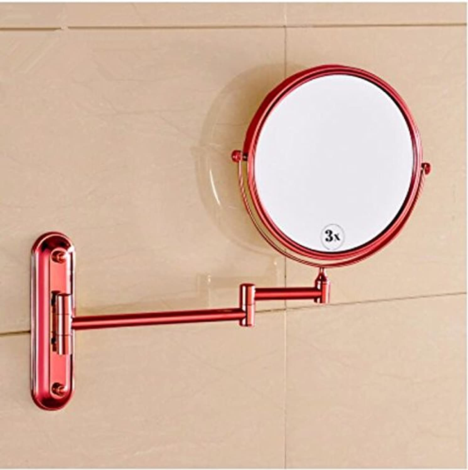 gold antique bathroom mirror wall mount folding mirror double-sided makeup mirror telescopic mirror-8 inch pink-gold mirror