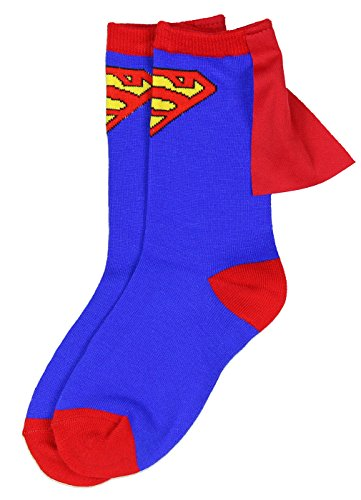 Superman Blue Red Youth Boys Caped Crew Socks (4-6)