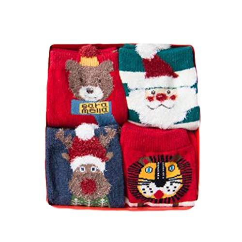 MEIHAOWEI 4Pairs Coton Santa Claus Noël Elk Chaud Mignon 3D Animal Modèles De Dessin Animé Chaussettes Pour Les Enfants