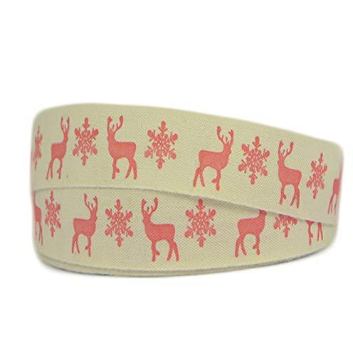 Reis of London - Cinta de algodón de Navidad de 15 mm de ancho para decoración personalizada y decoración de lazos o envoltorios para bolsos, globos, tarjetas, manualidades, cinta para tartas, tela, Stag & Snowflake, 2 m