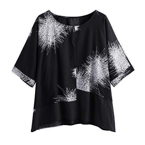 Buy Bargain CGKUITER Plus Size Women Half Sleeve Cotton Linen O-Neck Print Blouse Top T-Shirt Black