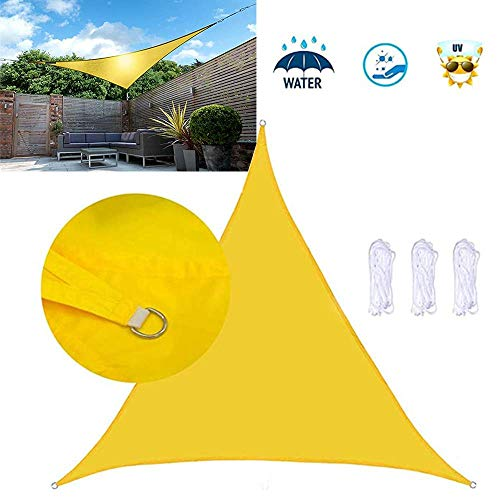 Garden Triangle Sun Shade Sail, Outdoor Swimming Pool Patio, Waterproof 90% Anti-UV Sunscreen Canopy Sunshade Waterproof Awning, Easy Clean (Yellow)