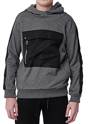 XRebel Kinder Junge Sweatshirt Hoodie Pullover Kapuzenpullover Modell W43W44 (45-Dunkel Grau, Numeric_164)