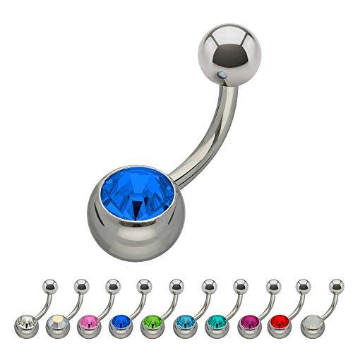 Treuheld®   Silbernes Titan BAUCHNABELPIERCING mit KRISTALL - [34.] 1.6mm x 6mm (Kugeln: 5mm + 8mm) - blau