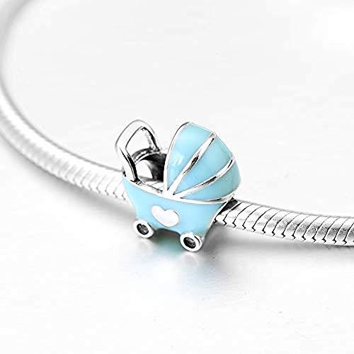 Zilveren kralen bedels, 925 sterling zilver Diy mooie blauwe kinderwagen Fijne armband sieraden maken Diy beste cadeau voor meisjes tieners Diy beste cadeau voor meisjes tieners