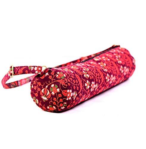 BellaMira Lifestyle Accessoires Yoga Mat Bag Volledige Zip Oefening Draagtas Organisch Katoen Traditionele Indiase Print Soepele Rits Verstelbare Band Grote Functionele Opslag Past op de meeste maten Matten