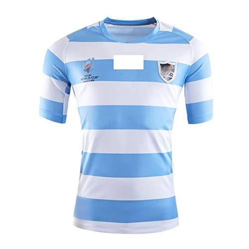 Camiseta de Rugby de la Copa Mundial de la Argentina 2019 Camiseta de Rugby de Manga Corta para el hogar Camiseta de Entrenamiento Juvenil para Hombres y Mujeres Camiseta de Rugby Azul para Regalo de