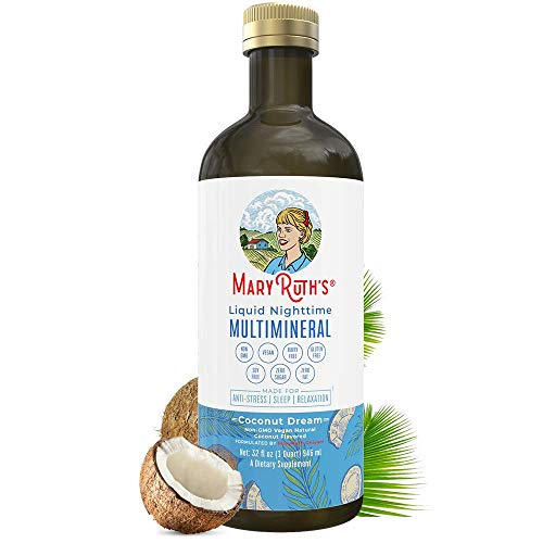 Glass Bottle Liquid Sleep Multimineral by MaryRuth's (Coconut) Vegan Vitamins, Minerals, Magnesium, Calcium & MSM | Natural Sleep & Stress Aid | Muscle Relaxation | No Melatonin | Non-GMO, 0 Sugar
