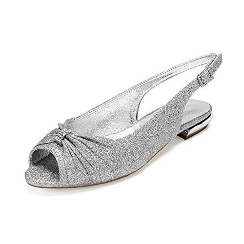 AQTEC Bailarina Planos para Mujer Verano Elegante Diamante Punta Abierta Zapatos de...