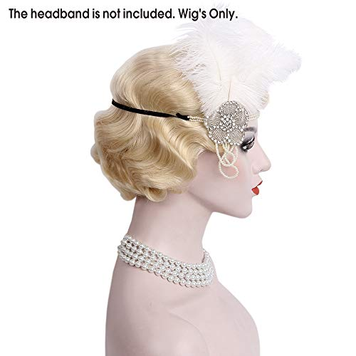 STfantasy Finger Wave Wig Blonde Bob Short Curly Synthetic Hair for Women 1920s Cosplay Party Costume