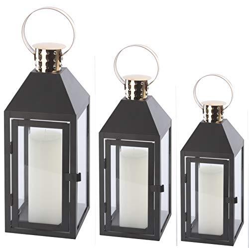 Bingo-Shop Laterne 3er Set XXL Gartenlaterne Metall Windlicht Laternen Kerzenhalter Set Kerzenleuchter F34