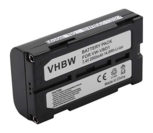 vhbw Batería Recargable reemplaza Hitachi VM-BPL27, VM-BPL27A, VM-BPL60 para cámara de vídeo, videocámara (2000 mAh, 7,4 V, Li-Ion)