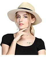 Taylormia Womens UPF 50+ Wide Brim Panama Straw Hat Foldable Fedora Beach Sun Hat Khaki