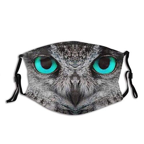 Lindo búho con ojos esmeralda cara M-A-S-K Unisex pasamontañas cubierta de boca con 2 filtros para hombres y mujeres