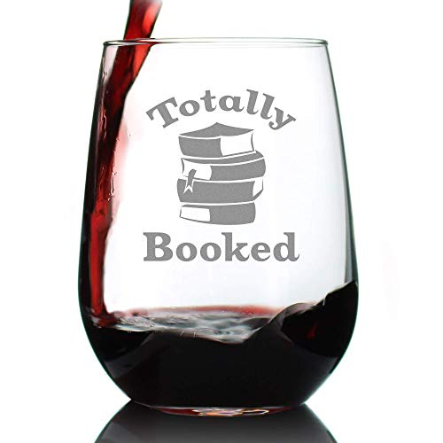 Totally Booked - Stemless Wine Glass - Cute Funny Book Club Gifts for Lovers of Reading & Fun Librarians - Large