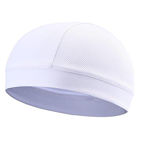 Tofern Summer Moisture Wicking Elastic Skull Cap Helmet Liner Bandana Beanie Hat for Outdoor Cycling Running Sport Motorcycle Polyester Polyester (White)