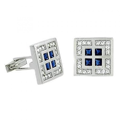 Manchettes pour hommes Cz géométriques clair et bleu en argent sterling