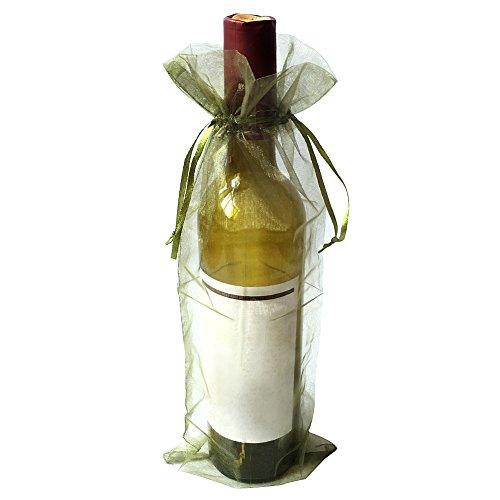 SXUUXB Bolsos de Botella de Vino de Organza, 100pcs Bolsas de Envoltorio de Regalo de Botella de Vino de Organza para la Boda Día de San Valentín de Navidad (Verde) - 37x14cm / 14.5 * 5.5in