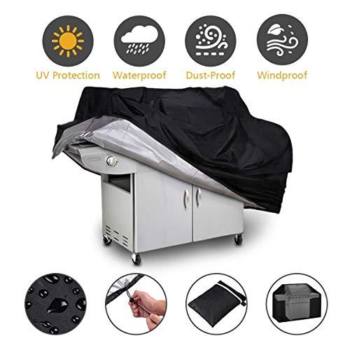 QYLT Bâche Barbecue, Housse de Protection Barbecue, Gril Anti-UV/Anti-l'eau/Anti-l'humidité Revêtement en PVC avec Sac de Rangement (145x61x117cm)