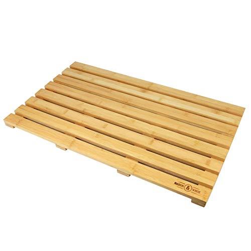 Estera de baño de tablero de pato de bambú | Bad Board Runner antideslizante | Marco de rejilla de madera natural | M&W