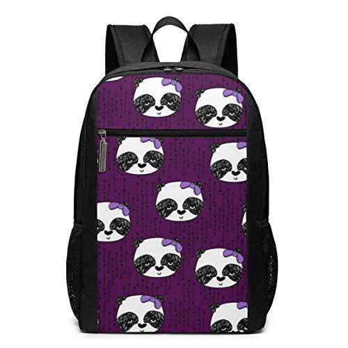 ZYWL Panda mit Schleifenrucksack, Business Durable Laptop Rucksack, Wasserbeständige College School Computer Tasche Geschenke für Männer Frauen, 17in x 12in x 6in, schwarz