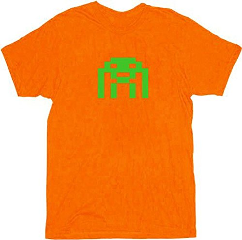 Orange Space Invader Theme T-shirt, Adult S to 2XL